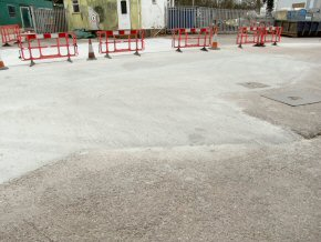 Industrial estate entrance in Devon with re-enforced steel mesh