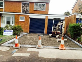 New driveway under construction at Hoverlands Road