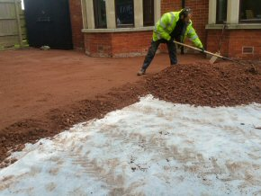 Digging out a drive and laying gravel, Taunton