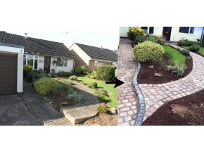 3 Size tumbled edge block paving. Old drive replaced with new. New path landscaped through the garden to the house.
