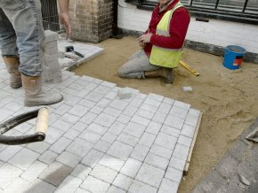 Laying Granite Sets in the Centre of Taunton