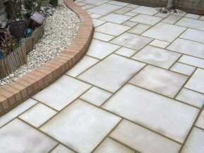 Indian sandstone patio in Cullompton, Devon (After)