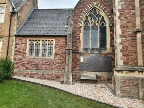 3 sized tumbled edge block paving at the rear of St. George's Church, Taunton