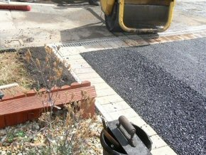 Grab Lorry - reform driveway in tarmac with brick paved edging